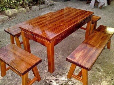 A009 {崙頂傳統原木家具行}~杉木實木桌配八角椅  接受訂作 訂色
