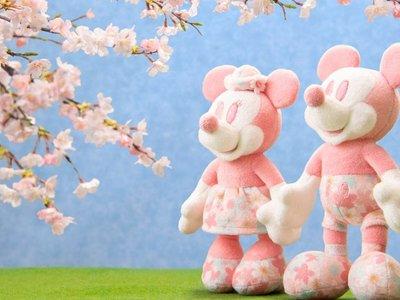 ArielWish日本東京迪士尼樂園2020櫻花季春天浪漫粉紅色米奇米妮情侶婚禮娃娃站姿別針珠鏈手機吊飾掛飾-兩款絕版品