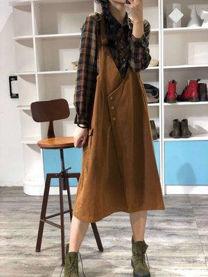 秋冬設計款減齡棉質大V領背帶式背心裙(老銀屋)