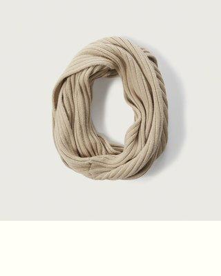 【天普小棧】Abercrombie&Fitch A&F Ribbed Snood保暖卡其色圍脖圍巾