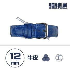 【鐘錶通】C1.06KW《繽紛系列》鱷魚壓紋-12mm 寶藍┝手錶錶帶/高質感/牛皮錶帶┥