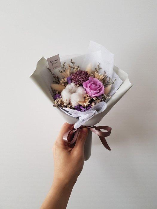 紫玫瑰永生+乾燥花迷你小花束│乾燥花束│台北歡迎自取西門1號出口【Flower&House花藝之家】