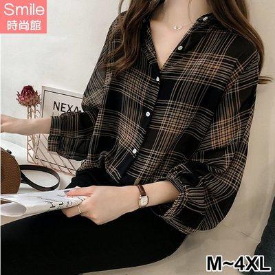 【V2630】SMILE-經典時尚.格子寬鬆中長袖襯衫