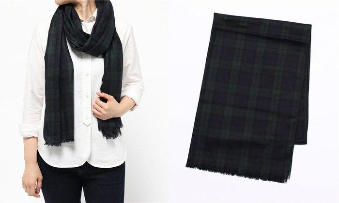 SHINY SPO 獨家代理日本品牌 DRWCYS 都會休閒經典格紋下擺流蘇羊毛薄披肩圍巾