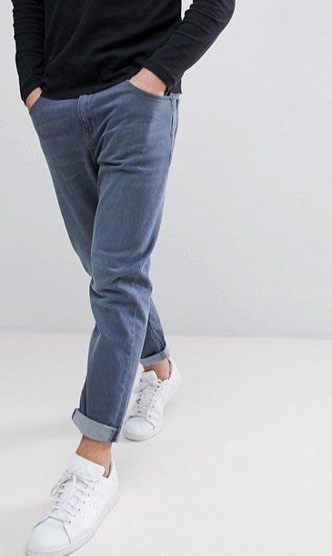 ◎美國代買◎ASOS煙燻藍刷色微寛鬆大腿反摺褲管復古英倫時尚街風煙熏藍反摺褲口老爺牛仔褲~歐美街風~大尺碼~