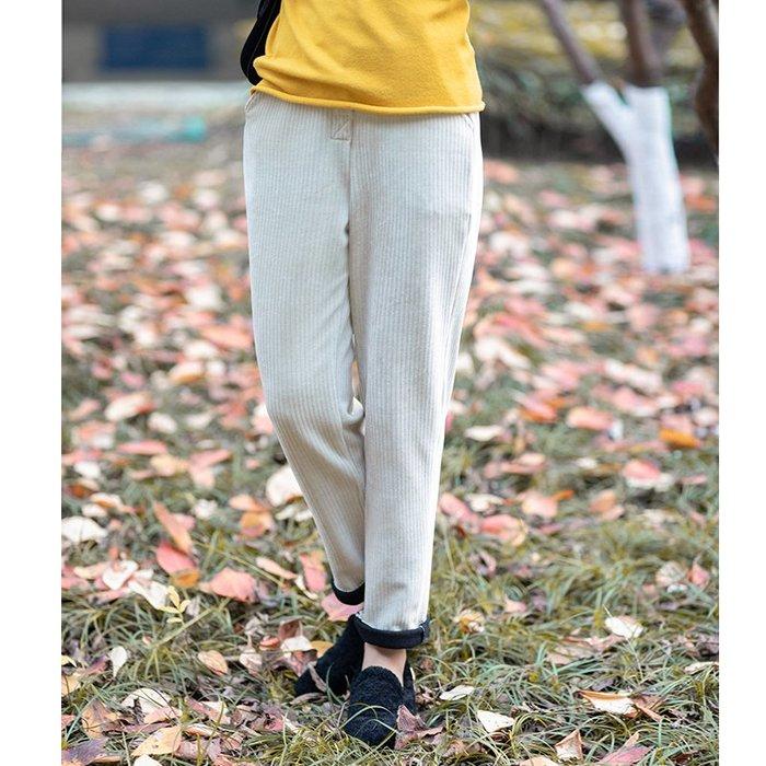 款管褲 長褲 休閒褲 文藝范 原創 民族風 長褲天鵝燈芯絨顯瘦休閑褲女 寬松女褲