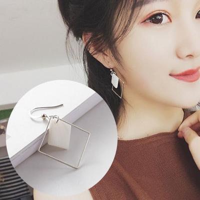天然白貝方形耳環 耳墜 簡約氣質 復古幾何耳釘 韓國簡約