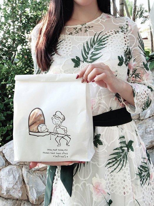 Amy烘焙網:5入/加厚手繪法文鐵絲捲邊開窗450g吐司袋/麵包磅蛋糕自封袋/淋膜防油紙袋/12兩土司袋