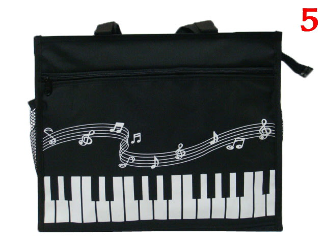 【菲歐娜】4120-5-(特價拍品)音符補習袋,A4資料袋,手提袋(黑) 台灣製作