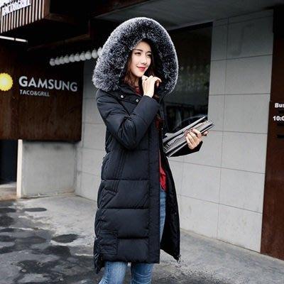 羽絨外套 連帽夾克-中長款加厚寬鬆毛領女外套2色73pa12[獨家進口][米蘭精品]