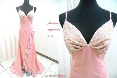 *~時尚屋~*婚紗禮服~粉色緞面法式設計師浪漫窄擺造型款~二手禮服~B502(歡迎預約試穿)