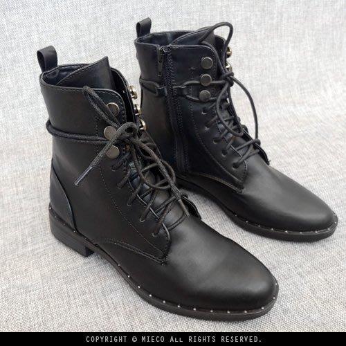 【Mieco】零碼特價款 ALDO旗下Call it spring 鉚釘裝飾綁帶側拉鍊小尖頭短靴軍靴