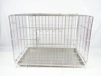 【優比寵物】不鏽鋼/不銹鋼 3尺 (304#級)(活動雙門折疊式/摺疊式)白鐵狗籠/貓籠/兔籠/寵物籠 [台灣製造]