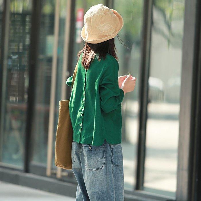 【鈷藍家】棉麻臆想 秋季新品3色紅綠黃襯衫知曉文藝休閒亞麻長袖前後兩穿襯衫短上衣