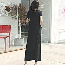 時尚佳人=黑色短袖寬鬆連身裙超長款韓版口袋大擺休閒圓領莫代爾打底長裙 =半身裙/背心裙/連身裙/短裙/a字裙/打底裙