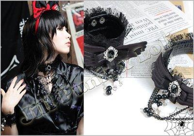 Oo吉兒oO蘿莉塔哥德天使羽翼黑寶石珍珠蕾絲漆皮頸圈手環組 Lolita Gothic 黑【JG197B】