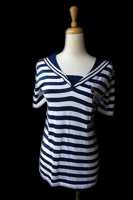 *Beauty*DOLCE&GABBANA藍白條紋海軍細針織衫號 9800元WE17