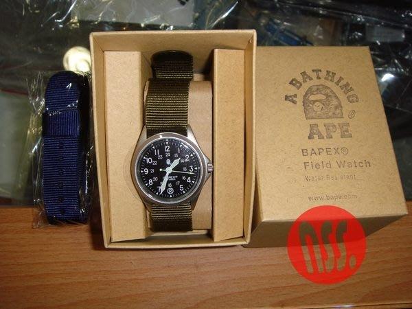 特價「NSS』 A BATHING APE BAPE BAPEX FIELD 軍錶 尼龍錶帶 手錶 藍 綠 金屬