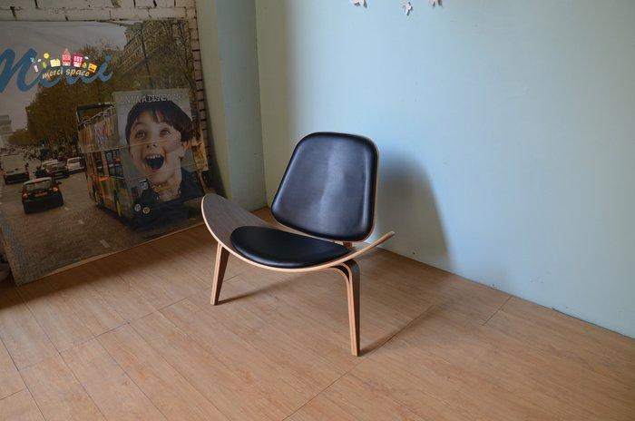 【美希工坊 Hans.J Wegner 微笑椅/貝殼椅/三腳椅/完整復刻/北歐風  黑色皮革