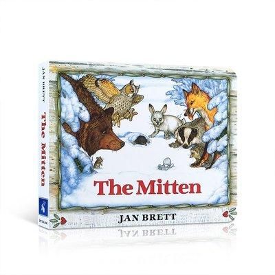 英文原版 The Mitten 小手套 Jan Brett 圣誕節兒童低幼認知啟蒙紙板書 繪本 親子睡前讀物 常青藤爸爸
