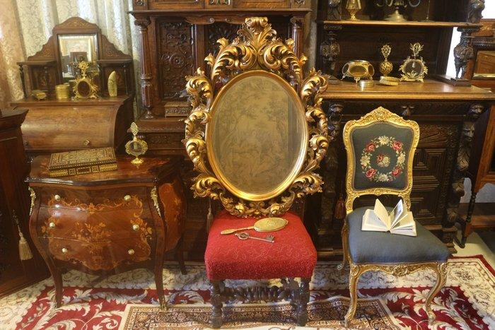 【家與收藏】特價稀有珍藏歐洲古董法國凡爾賽華麗巴洛克手工雕花金箔玄關大掛鏡