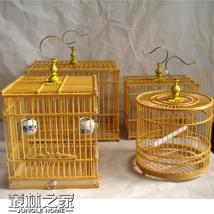 小號方形圓形竹子鳥籠方籠繡眼玉鳥等小鳥竹籠子一套帶碗