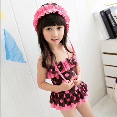 糖衣子輕鬆購【DZ0130】韓版時尚可愛甜美女童連身裙裝泳裝泡湯溫泉泳衣附帽