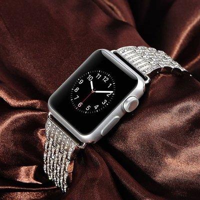 丁丁 蘋果 Apple iwatch1/2/3/4不鏽鋼 鑲鑽全鋼錶帶 閃鑽 38/40/42/44MM 銀色 高貴時尚