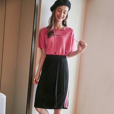 ☆TANG KOREA*╮正韓 連帽針織衫+側條紋撞色系帶半身裙