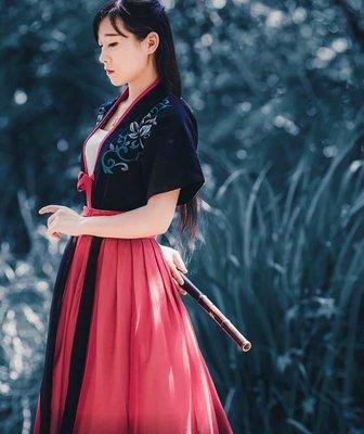 曉棠 手繪半臂 紅色 齊腰襦裙 漢服女裝 夏季 新品