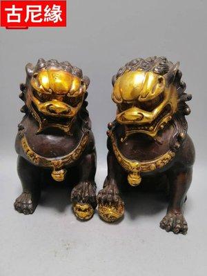 【古尼緣】純銅鎏金銅獅子擺件 鎮宅辟邪化煞裝飾工藝品銅獅子家居風水擺件GNY3078