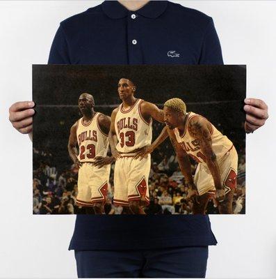 現貨 當日出貨 公牛鐵三角 Jordan/Pippen/Rodman(喬丹/皮朋/羅德曼) 牛皮紙海報 喬喜屋