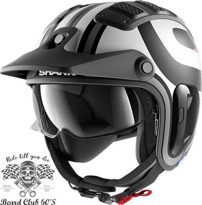 ♛大鬍子俱樂部♛ SHARK® X-Drak 2 Thrust R 法國 原裝 復古 越野 Jet 安全帽 消光 B/W
