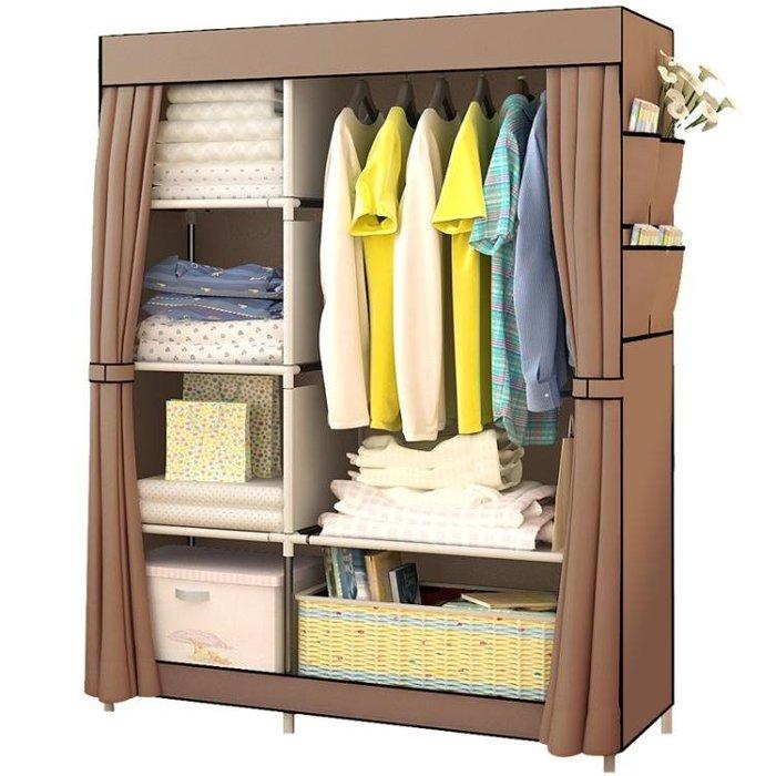 簡易衣櫃經濟型布藝組裝衣櫃鋼管加固鋼架衣櫥摺疊 【全館免運】