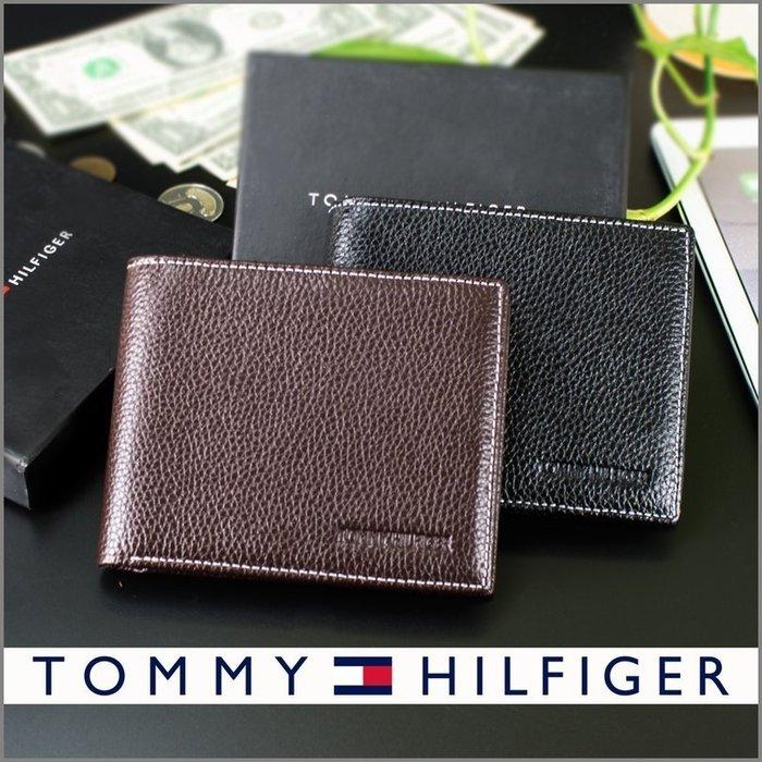 TOMMY HILFIGER 美國名牌 頭層牛皮 男 短夾 皮夾 真皮 黑棕兩色盒裝附提袋