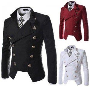 紳士미각簡約休閒雙排扣小西服男士修身純色外套  預購10天 現貨