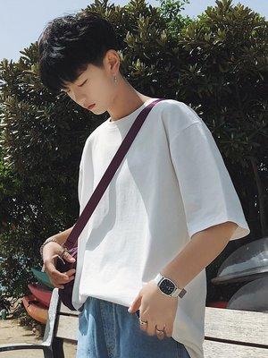 T恤男 寬鬆 上衣 休閒 百搭 新款夏季港風潮流短袖T恤男寬鬆純色體恤韓版打底衫半袖上衣