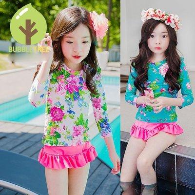 【Kathie Shop】韓國BUBBLETREE正品女童泳衣 長袖裙式防曬泳裝寶寶泳衣三件套 兩色 SE07