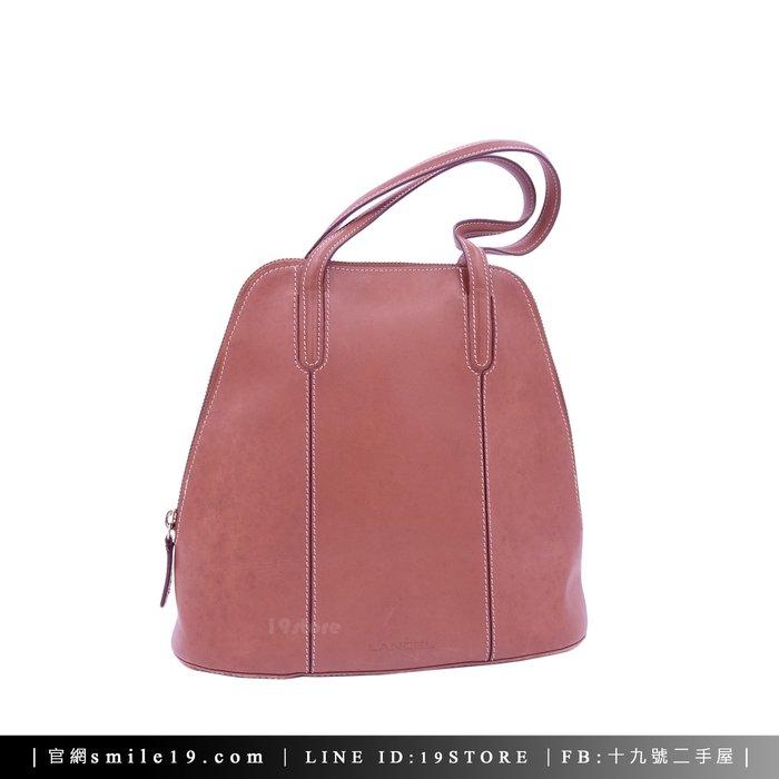 《十九號二手屋》vintage 法國LANCEL 真皮焦糖色拉鍊手提包