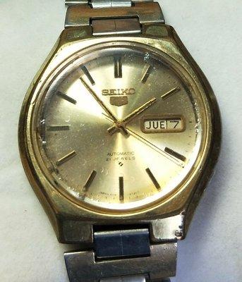 OQ精品腕錶  日本精工老錶自動上錬機械錶玻璃鏡面不含龍頭38MM行走正常日期星期用按跳的