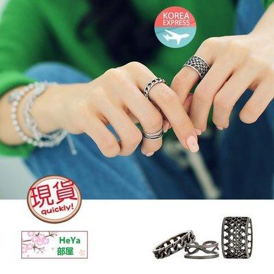HeYa (現貨包平郵) 韓國直送 韓製飾品 4xtyle 韓國製波浪仿舊3件一套戒指 指環 首飾
