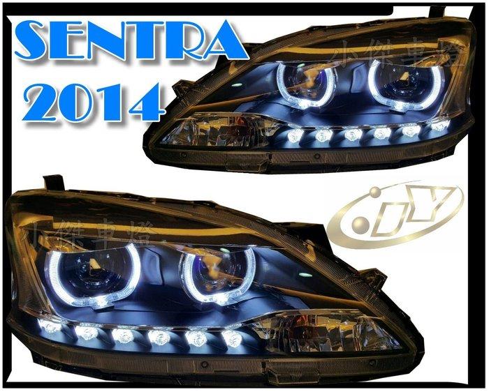 ╣小傑車燈精品╠全新SUPER SENTRA 2013 2014年 類BMW雙圓 LED導光式 R8 日行燈 魚眼 大燈