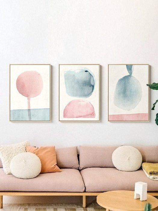 壁畫墻畫掛畫仟象映畫小清新抽象裝飾畫北歐臥室掛畫客廳沙發背景墻壁畫粉色