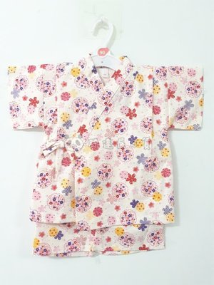 ✪胖達屋日貨✪褲款 100cm 米底 水波紋 雪輪 櫻花 日本製 女 寶寶 兒童 和服 浴衣 甚平 抓周 收涎 攝影