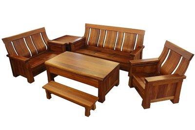 【尚品傢俱】601-27 桃花心木全實木椅組/1+2+3木組椅/客廳木造沙發組/會客室木製桌椅組
