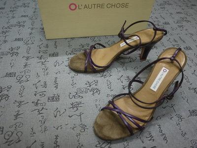義大利製 L'AUTRE CHOSE 高級真皮粗跟涼鞋 EUR 36 USA 6 JPN 23 CM