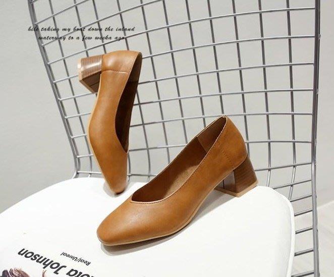 工作鞋 女 黑 高跟_大尺碼女鞋小尺碼女鞋方頭復古V口素面粗跟中跟鞋高跟鞋包鞋 ...