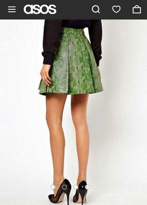 asos 綠色蛇紋真皮裙 百摺圓裙