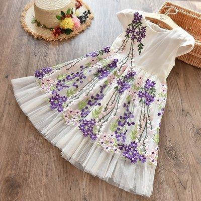 【Mr. Soar】 **清倉** G123 夏季新款 歐美style童裝女童花朵刺繡洋裝 現貨
