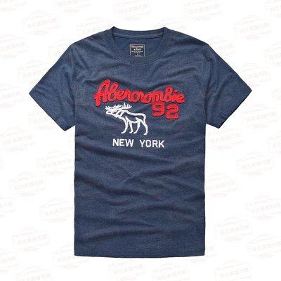 【菲比代購&歐美精品代購專家】Abercrombie Fitch A&F男款 型男 麋鹿 雙色字體 圓領短袖T桖 花藍
